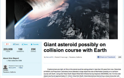 Gabon CNN: Toka do të shkatërrohet nga një asteroid më 35 mars 2014