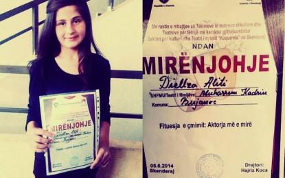 """Tërnocasja, Diellza Aliti,  fiton çmimin """"Aktorja më e mirë"""" në Skënderaj"""