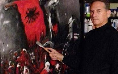 Piktori  Xhevdet Dulaj me  punimin  e  tij uron Festën e Flamurit