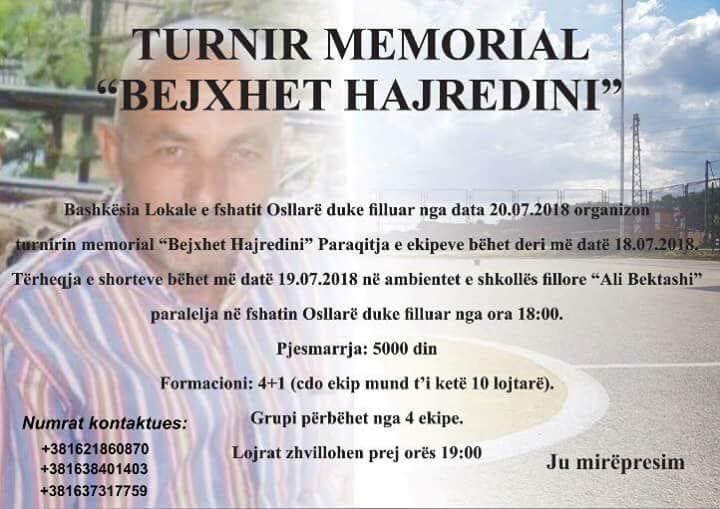 "BL e Osllarës organizon turnirin memorial ""Bejxhet Hajredini"""